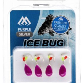 Ice bug violet- silver-4mm -4buc tungsten
