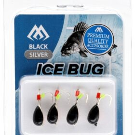 Ice bug black- silver-4mm -4buc tungsten